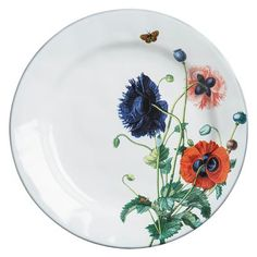 Field of Flowers Dinner Plate From our Field of Flowers Collection - Lay your blanket among the wildflowers, grab a glass of wine and curate your setting with our inspired botanical plates. Alive with budding poppies and buzzing garden insects, our Field of Flowers dinner plate festooned with Oriental Poppies creates a luminous backdrop for your radiant fete.