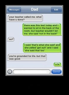 totally grounded for life but funny Funny Shit, Haha Funny, Funny Jokes, Funny Stuff, Funny Dad, Funny Texts To Parents, Mum Jokes, Funny Drunk Texts, Hilarious Texts