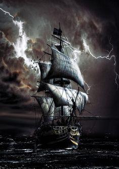 Pirate Art, Pirate Life, Poseidon Tatoo, Ship Tattoo Sleeves, Benfica Wallpaper, Pirate Ship Tattoos, Old Sailing Ships, Ship Drawing, Ship Paintings