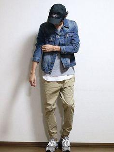 Jean Jacket Outfits, Denim Jacket Fashion, Denim Jacket Men, Japan Men Fashion, Mens Attire, Moda Casual, Hipster Outfits, Mens Clothing Styles, Streetwear Fashion