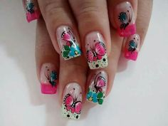 Imagen relacionada Rose Nail Art, Butterfly Nail Art, Rose Nails, Nail Art Diy, Gel Nails, Nail Arts, Manicure And Pedicure, Coffin Nails, Lovers Art