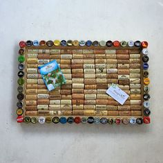 Beer Cap Wine Cork Board repurposed from an old frame by Lolailo