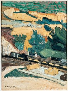 Hans Berger (Swiss, The Train, 1909 Oil on canvas, 61 x 46 cm Oil On Canvas, Train, Landscape, Abstract, Expressionism, Artwork, Painting, Kunst, Switzerland