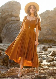 Marigold Dress, Bridesmaid Inspiration, Clothing Photography, Fashion Capsule, Casual Summer Outfits, 70s Fashion, Flutter Sleeve, Style Guides, Dress Outfits