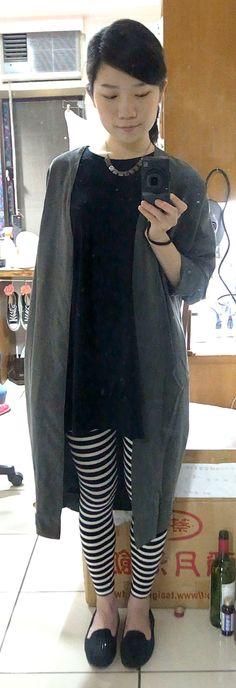 long blazer + stripe leggings + black loafers + necklace.