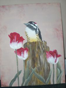 Downy woodpecker and tulips.  Acrylic on wrapped canvas.