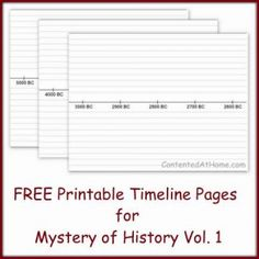 Free Printable Timeline Notebook Pages 25 printable timeline pages with dates from 5000 B. 45 (Can be used w/ any history -- she has just used MOH's recommended date increments) History Teachers, History Class, Teaching History, Nasa History, History Education, Make A Timeline, History Timeline, Timeline Ideas, 6th Grade Social Studies