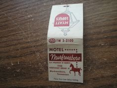 Motel Murfreesboro Tennessee FS Old Matchcover Hyatt Lodges TW 3-2100 Phone