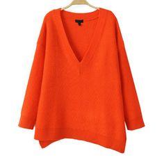 34,90EUR Pullover orange mit V-Ausschnitt