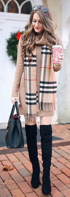 what to wear with a plaid scarf : bag + sweater dress + over the knee boots