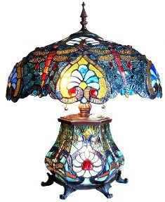 Tiffany Lamp With Asian Dragon Fly Stained Glass Table Lamps, Stained Glass Light, Tiffany Stained Glass, Tiffany Glass, Louis Comfort Tiffany, Antique Lamps, Vintage Lamps, Victorian Lamps, Dragonfly Stained Glass