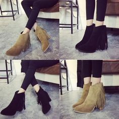 2015 New Fashion Womens Chunky Heel Ankle Boots High Heels Tassel Suede Shoes  #New #AnkleBoots #Casual