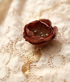 Mauve Handmade Silk Flower and Gold Filigree by AuroraWithLove, $60.00