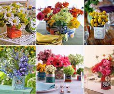 decoración con latas de hojalata antiguas para crear floreros