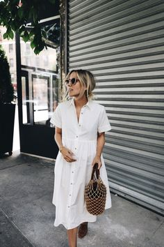 Breezy white dress, woven bag
