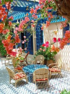 My bougainvillea never would do this. These blooms sure make this patio amazing doesn't it? The blue accents make this patio. Blue Patio, Outdoor Rooms, Outdoor Gardens, Outdoor Living, Outdoor Decor, Outdoor Furniture, Outdoor Lounge, Gazebos, Home Decor Ideas