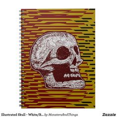 Illustrated Skull - White/Red on Jagged Stripes Spiral Note Books  http://www.zazzle.com/monstersandthings?rf=238806092629186307