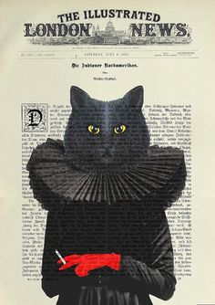 BLACK CAT original ARTWORK mixed media by artretro