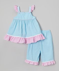 Look what I found on #zulily! Blue & Pink Angel-Sleeve Top & Capri Pants - Infant & Toddler by Petit Pomme #zulilyfinds