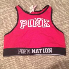 LIMITED EDITION PINK SPORTS BRA NWT RED SPORTS BRA WITH PINK NATION BAND -perfect condition smoke free home fast shipping ! PINK Victoria's Secret Intimates & Sleepwear Bras