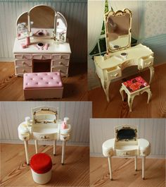 VINTAGE 1968 - 1976 Pedigree Sindy  Dressing Tables w/Accessories