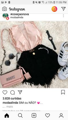Look para o shopping a tarde Summer Clothes, Summer Outfits, Black Denim Shorts, Ootd, Pumps, Women's Fashion, Trends, Shopping, Clothing