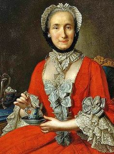 "unknown French artist, Lady with a cup of tea, dating only as ""late 18th century"" (more like middle to me, 1750-1760s)"