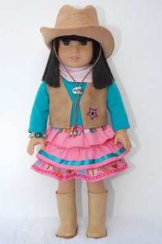 American Girl 18 inch Doll Clothes Pink Orange Ruffled Skirt, Leather Vest, Green Blue Shirt, Tan Cowgirl Hat, Pink White Bandana. $29.99, via Etsy.