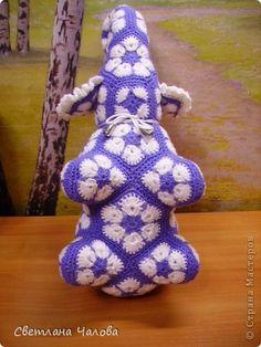 Игрушка Мастер-класс Вязание крючком МК Слоник из вязанных элементов африканский цветок  Пряжа фото 2
