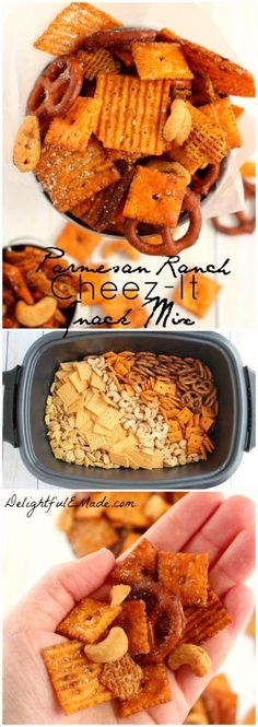 2 cup Rice/corn breakfast cereal. 1/4 cup Worcestershire sauce. 2 tbsp Ranch seasoning mix. 1 cup Cashews. 3 cup Cheez-it original crackers. 2 cup Pretzels. 6 tbsp Butter. 1/3 cup Parmesan cheese, grated. 3 c. Cheez-It Grooves, Zesty Cheddar Ranch crackers.
