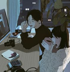 * - - - - ◇ ◆ I don't own these art ◇ ◆©️artis Kawaii Illustration, Illustration Mignonne, Couple Illustration, Couple Amour Anime, Anime Love Couple, Cartoon Kunst, Cartoon Art, Aesthetic Anime, Aesthetic Art