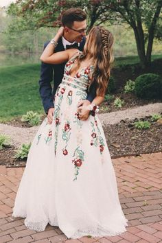 A Line V Neck Ivory Lace Prom Dresses with Embroidery, Printed Evening Dresses N1210 #promdressesforteens #promdresses