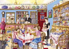 Gibsons Afternoon Tea Jigsaw Puzzle Pieces) by Val Goldfinch (Nostalgia… Norman Rockwell, Vintage Posters, Vintage Art, Vintage Paintings, Vintage Labels, Jigsaw Puzzels, Illustrations, Illustration Art, Nostalgic Art