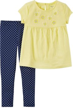 a708cede8ef0c Carter s defines playful style with this girls  butterfly tunic top and  polka-dot leggings set. In yellow nacy.