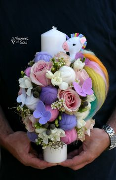Bouquet, Easter, Candles, Sweet, Flowers, Diy Ideas, Crafts, Projects, First Holy Communion