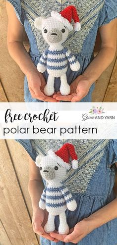 Quick and easy free crochet polar bear pattern with step by step photos to help along the way! Crochet Christmas Ornaments, Christmas Crochet Patterns, Holiday Crochet, Crochet Animal Patterns, Stuffed Animal Patterns, Crochet Home, Crochet Baby, Free Crochet, Crocheted Toys