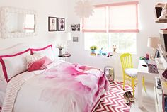 Teen Vogue Bedroom Makeover, teen vogue's bedding collection available on jcp.com, Madeline Weinrib rug.