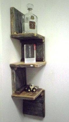 Rustic Corner Shelf from Reclaimed Barnwood More
