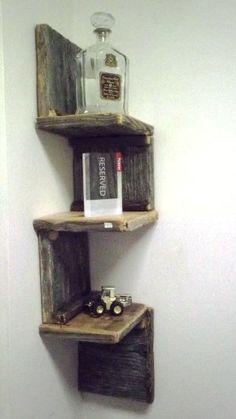Rustic Corner Shelf from Reclaimed Barnwood More