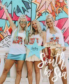 ✰ South by Sea ✰ Alpha Delta Pi Sorority Bid Day, College Sorority, Sorority Shirt Designs, Sorority Shirts, Tri Delta, Alpha Delta, Custom Clothing Design, Custom Clothes, Recruitment Themes