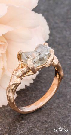 Rough Diamond Rose Gold Branch Engagement Ring. Green Lake Jewelry 114570