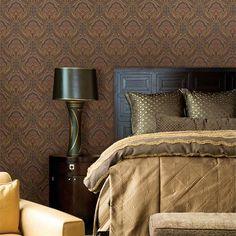 Brewster Oxford. Cypress Paisley Damask Wallpaper
