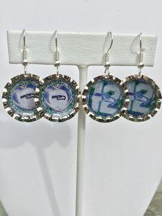Seahawks lightweight bottle cap earrings made by Wylene at Shady Lane Jewelry