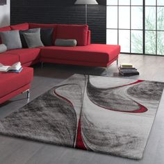 Looking for a modern focal point for your living room, bedroom, kitchen or hallway? Then this contemporary low pile rug from our current collection is perfect. Black And Red Living Room, Red Couch Living Room, Red Living Room Decor, Living Room Mats, Burgundy Living Room, Living Room Modern, Home Living Room, Living Room Designs, Red Living Rooms