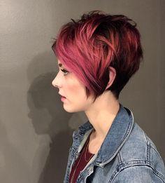 Anna is such a beautiful canvas! • • • #loveluce #salonluce #pixiecut #nothingbutpixies #pinkhair #rosegoldhair #pulpriothair #shadowroot #hairbrained #behindthechair #modernsalon #americansalon #hairgoals #hairinspiration #shorthair