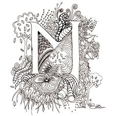 Monogram Initial ColourMeIn Illuminated Letters  M by wiccked, $5.00