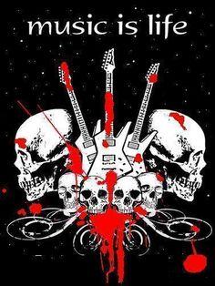Music is Life skull art heavy metal