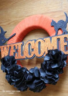 Simple black and orange Halloween wreath!