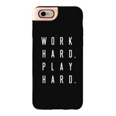 iPhone 6 Plus/6/5/5s/5c Metaluxe Case - Work Hard Play Hard Black ($50) ❤ liked on Polyvore featuring accessories, tech accessories, phone cases, phone, cases, electronics, iphone case, apple iphone cases and iphone cover case