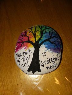 Painted rock gratefulness by marci #kindnessrocks